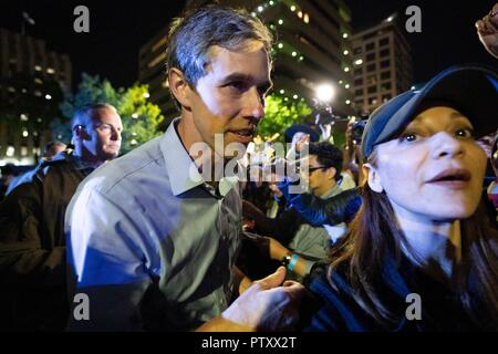 Former congressman Beto O'Rourke of El Paso, TX mingles with supporters after kicking off his presidential campaign at a late-night rally in front of the Texas Capitol. - Stock Image