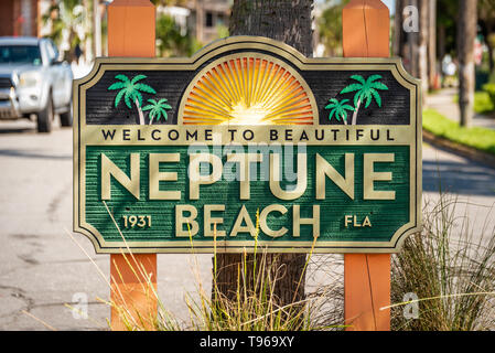 Neptune Beach welcome sign in Northeast Florida, east of Jacksonville. (USA) - Stock Image