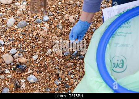 Hastings, East Sussex, UK. 06 Apr, 2019. Volunteers from all over the country come together at the beginning of April to clean a beach near you. This year, volunteers from hastings and surrounding areas meet at the Hastings pier from 10.30am. People of all backgrounds are encouraged to come down and spend some time cleaning the beach of mainly plastic pollution. ©Paul Lawrenson 2019, Photo Credit: Paul Lawrenson/Alamy Live News - Stock Image