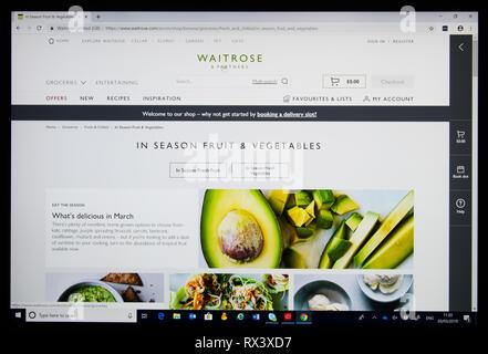 Waitrose online shop screen shot  'in season fruit and vegetables' - Stock Image