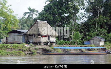 A landing place and clearing on the mud banks of the Napo River near Coca or Puerto Francisco de Orellana. Coca, - Stock Image