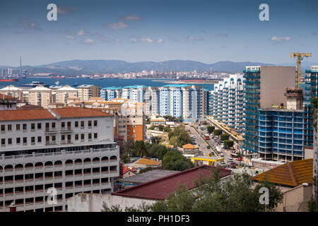 Gibraltar, Waterport Road and city centre skyline, elevated view from the rock - Stock Image