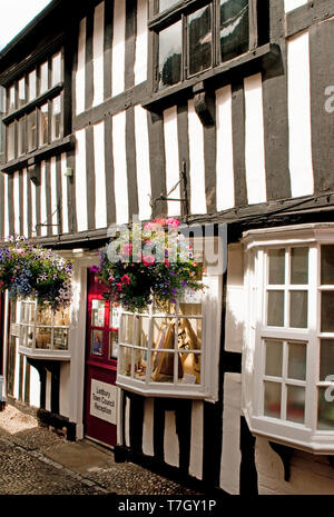 Church Lane in Ledbury Herefordshire, with black and white timbered buildings - Stock Image