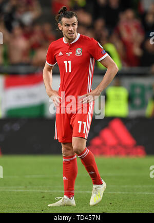 Wales' Gareth Bale after the UEFA Euro 2020 Qualifying, Group E match at the Groupama Arena, Budapest. - Stock Image