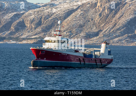 The Norwegian Fish carrier Viktoria Lady, sailing amongst the Norwegian Fjords during winter. - Stock Image