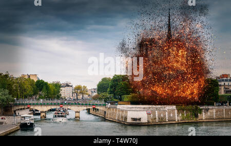 Digital concept of early stages of Notre Dame Cathedral fire, which occurred on April 15, 2019 in Paris, France - Stock Image