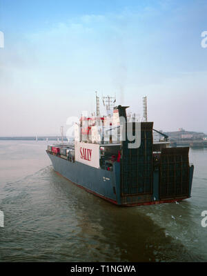 Sally Eurolink,Ship,Commercial,Ferry,Leaving Ostend,1980s,Heading for Ramsgate,Archive Image - Stock Image