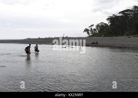 Hiker crossing river Osa Peninsula Costa Rica beach primary rain forest. Tropical Jungle tree - Stock Image