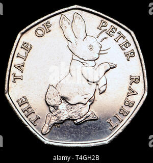 British commemorative 50p coin. Beatrix Potter - Peter Rabbit (2017) - Stock Image