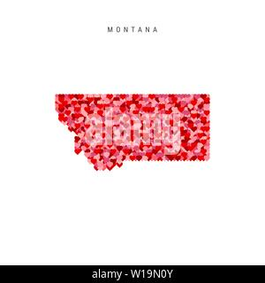 I Love Montana. Red and Pink Hearts Pattern Vector Map of Montana Isolated on White Background. - Stock Image