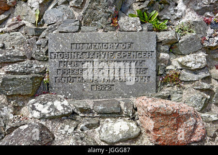 Commemorative plaque at the Nunnery on Iona in memory of Robina Jarvie Spencer. - Stock Image