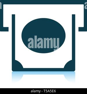 Banknote sliding from atm slot icon. Shadow reflection design. Vector illustration. - Stock Image