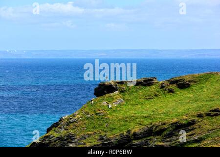 A man standing on the edge of a rock,Tintagel castle island peninsular,Cornwall,England,UK - Stock Image