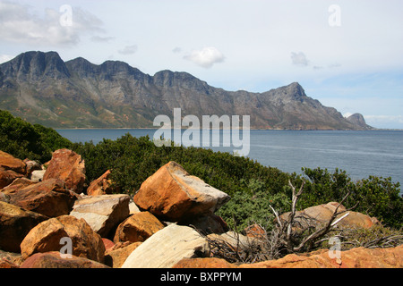 Koeelbaai Sparks Bay and Hottentots Holland Mountain Range, Western Cape, South Africa. View from the R44 Highway. - Stock Image