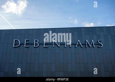 Debenhams store sign. Sign outside a Debenhams shop, Stevenage, UK - Stock Image