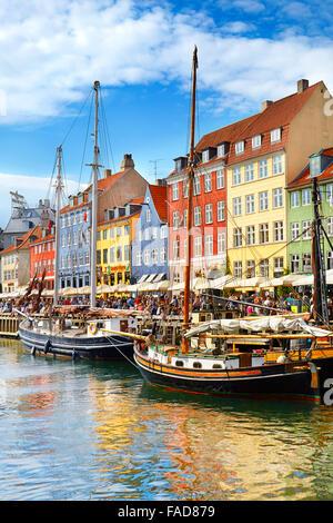 Copenhagen, Denmark - the boat in Nyhavn Canal, - Stock Image