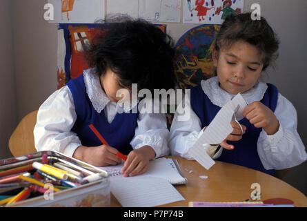 two primary school girls - Stock Image