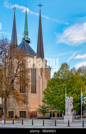Rear of the Cathedral of Notre-Dame, Luxembourg, Luxembourg City - Stock Image