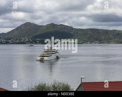 "Munkebotn 2B, Bergen, Norway. 15th June, 2015. Super yacht ""Eclipse"", owned by the Russian Chelsea - Stock Image"