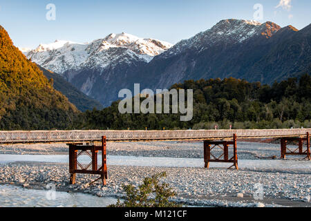 Bridge over the River Waiho, Franz Josef, New Zealand - Stock Image