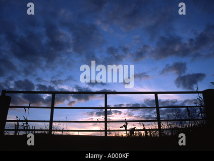 Silhouette of a farmers gate against a blue and orange sunset sky and clouds - Stock Image