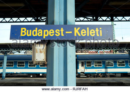 Budapest - Keleti . The railway station terminal for the main international and inter-city services in the Hungarian capital. - Stock Image