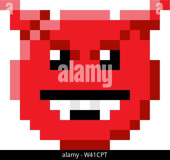 Emoticon Face Pixel Art 8 Bit Video Game Icon - Stock Image
