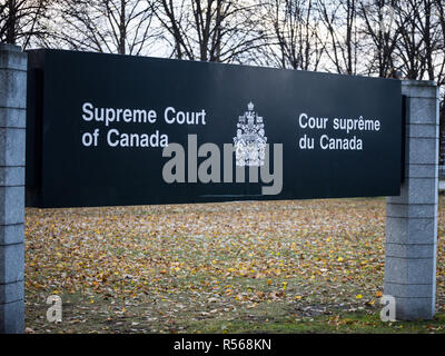 OTTAWA, CANADA - NOVEMBER 10, 2018: Entry sign indicating the Supreme Court of Canada, in Ottawa, Ontario. Also known as SCOC, it is the highest justi - Stock Image