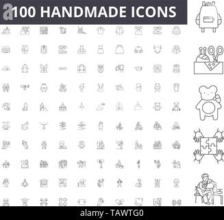 Handmade line icons, signs, vector set, outline illustration concept  - Stock Image