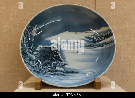 Dish, Nabeshima Ware with Design of Snowscape in Underglaze Blue. 18th Century. Tokyo National Museum - Stock Image