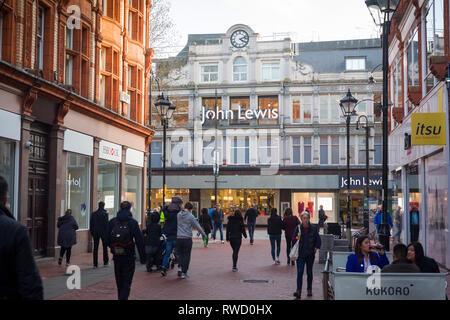 The John Lewis department store in Broad Street, Reading, Berkshire, seen from Queen Victoria Street. - Stock Image