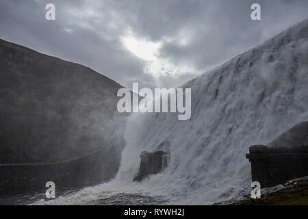 Caban Coch Dam  Elan Valley Ryhayader Powys Wales UK - Stock Image