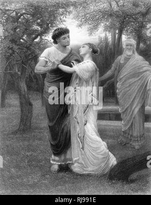 Act III, Scene II Pandarus encourages a meeting between Troilus and Cressida in his orchard - Stock Image
