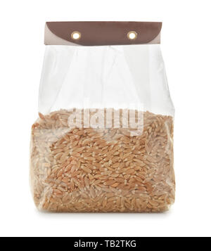 Plastic bag of spelt wheat isolated on white - Stock Image