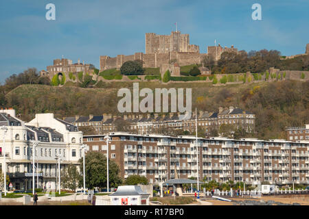 Dover Castle,Dominating,Dover,Town,Dover,Kent - Stock Image