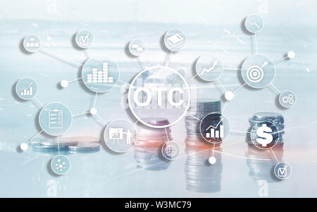 Over The Counter. OTC. Trading Stock Market concept coins on city background - Stock Image