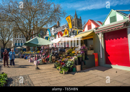 Colourful market stalls of Norwich city market. Norfolk, East Anglia, England, UK. - Stock Image