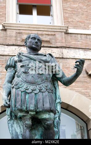 Statue of Roman Emperor, Julius Caesar, Rimini, Emilia-Romagna, Italy - Stock Image