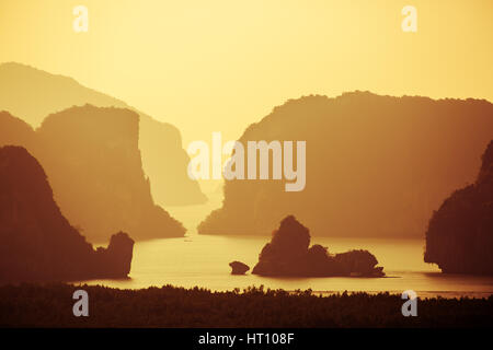 Phangnga bay samet sunset sunrise Thailand - Stock Image