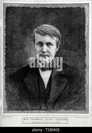 Thomas Alva Edison (1847-1931), portrait, wood engraving by M. K. L. Wright after V. Daireaux, 19th Century - Stock Image