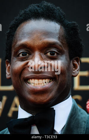 Kobna Holdbrook-Smith poses on the red carpet at the Olivier Awards on Sunday 7 April 2019 at Royal Albert Hall, London. . Picture by Julie Edwards. - Stock Image
