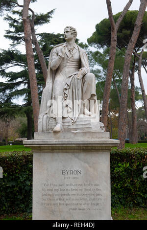 Italy Rome Villa Borghese Gardens statue of Lord Byron sculpture - Stock Image