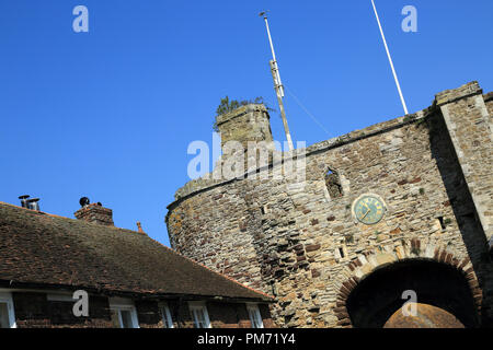 View of the Landgate from East Cliff, Rye, East Sussex, England, United Kingdom - Stock Image