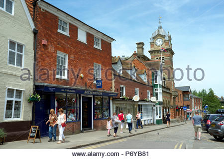Hungerford - view in the High Street, with the Hungerford Town Hall & Corn Exchange visible. Berkshire, UK. - Stock Image