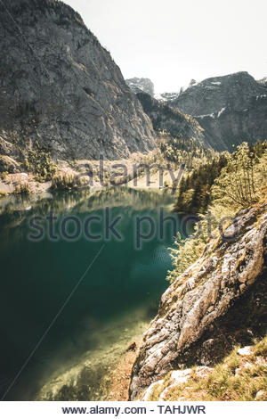 Nature panorama at lake Obersee, near Koenigssee in Berchtesgaden, Bavaria during Spring - Stock Image