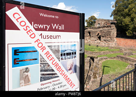 Closed for refurbishment sign, Jewry Wall Museum, Leicester, England, UK - Stock Image