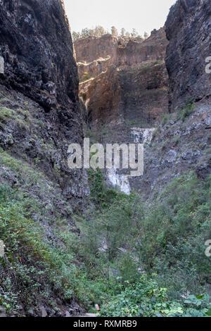 The narrow upper reaches of the Barranco del Infierno, Adeje, Tenerife, - Stock Image
