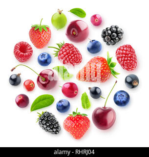 Isolated fresh berries in a circular composition. A group of strawberry, cherry, blackberry and other fresh berries isolated on white background with  - Stock Image