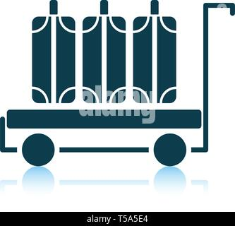 Luggage cart icon. Shadow reflection design. Vector illustration. - Stock Image
