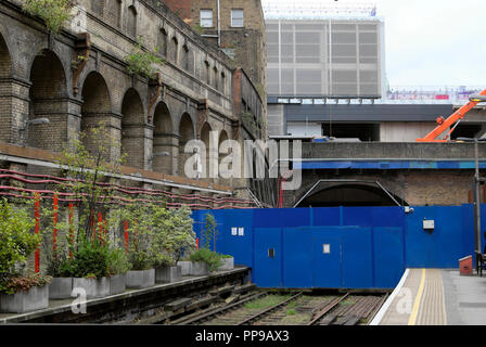 Closed track and tunnel at Barbican Station awaiting Crossrail completion with garden planters on the platform in summer 2018 London UK  KATHY DEWITT - Stock Image